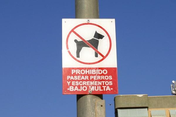 Prohibido pasear excrementos