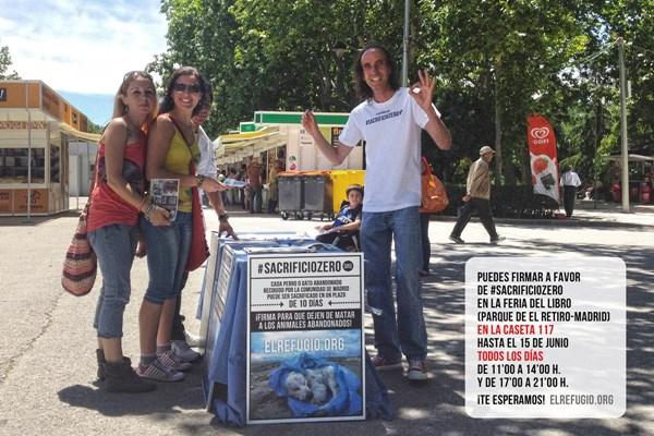 Puedes firmar a favor de #sacrificiozero en la Feria del Libro de Madrid